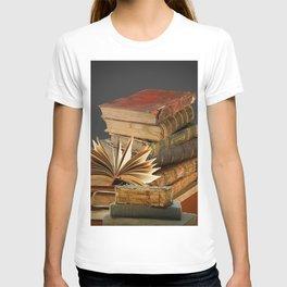 DECORATIVE  ANTIQUE LEDGERS, LIBRARY BOOKS art T-shirt