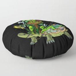 Psychedelic Aliens Space Trip Floor Pillow