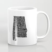 alabama Mugs featuring Typographic Alabama by CAPow!