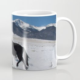 Friesian in the snow Coffee Mug