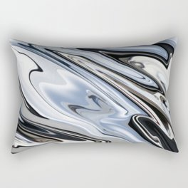 Grey and Black Metal Marbling Effect Abstract Rectangular Pillow