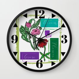 Flower Bloom Grow Wall Clock