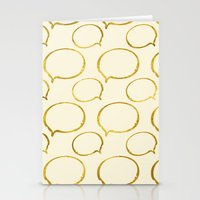 gold foil Stationery Cards featuring Cream Gold Foil 01 by Aloke Design