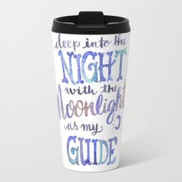 Watercolor Moonlight Lettering Travel Mug