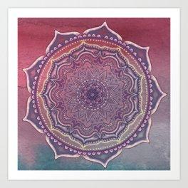 Pink and Blue Mandala Art Print