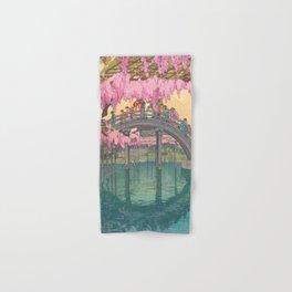 Yoshida Kameidô Japanese Woodblock Print Vintage Asian Art Wisteria Garden Bridge Hand & Bath Towel