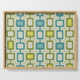 Mid Century Modern Square Columns Turquoise Chartreuse Serving Tray