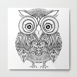 Aztec Cute Owl Metal Print