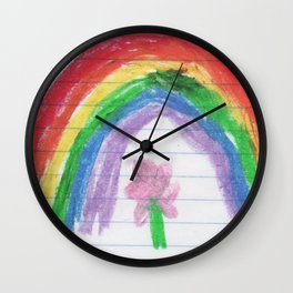 A Child's Rainbow (by Melody Leoness) Wall Clock