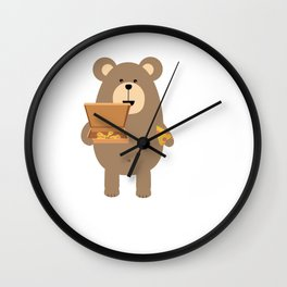 Brown Bear eating Wall Clock
