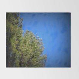 Green Leaves Clear Blue Sky Throw Blanket