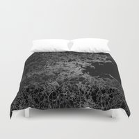 boston map Duvet Covers featuring Boston map by Line Line Lines