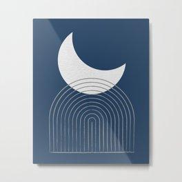 Moon Mountain Blue - Mid Century Modern Metal Print