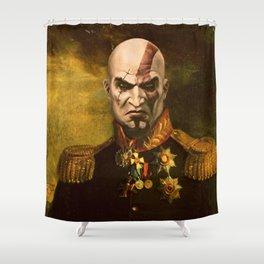 Kratos General Portrait Painting | god of war Fan Art Shower Curtain