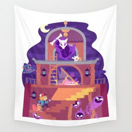 Tiny Worlds - Lavender Town Tower Wall Tapestry