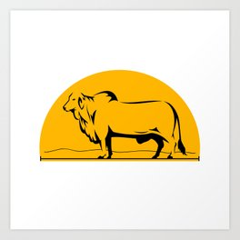 Brahman Bull Mountains Side Half Circle Art Print