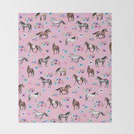 Horses & Flowers, Pink Pattern, Horse Illustration, Little Girls Room, Watercolor Throw Blanket