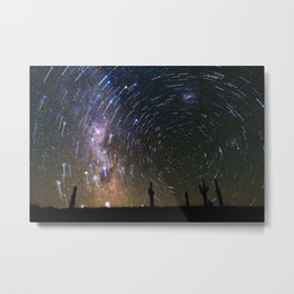 Star Trails over Atacama Desert Cacti Metal Print