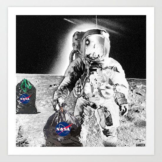 GARBAGE CAN  on  the MOON Art Print