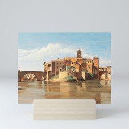 The Island and Bridge of San Bartolomeo, Rome (1828) by Jean-Baptiste-Camille Corot Mini Art Print