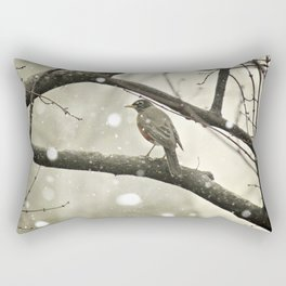 American Robin (Turdus migratorius) in Winter Rectangular Pillow