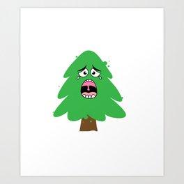 Crying Christmas Tree Art Print