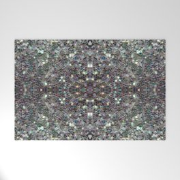 Sparkly colourful silver mosaic mandala Welcome Mat