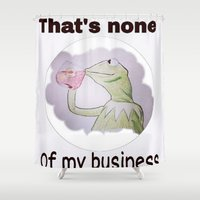kermit Shower Curtains featuring Kermit the frog by Cameron Coleman