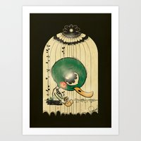 Chinese Idiom: Sitting Duck 插翅难飞 Art Print
