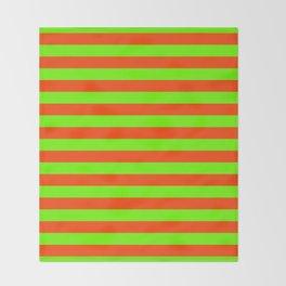 Super Bright Neon Orange and Green Horizontal Beach Hut Stripes Throw Blanket