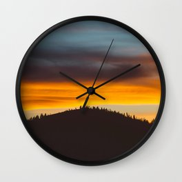 Mountain Hill With Trees Orange And Blue Sunset Clouds Wall Clock