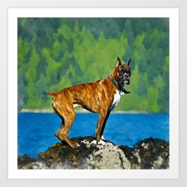 Boxer dog Watercolor Digital Art Art Print