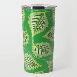 Green golden leaves pattern Travel Mug