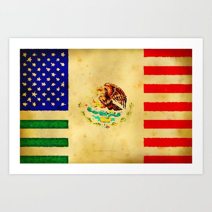 Mexican American Flag 017 Art Print By Lazybonesstudios