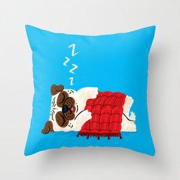 Pug In A Rug Throw Pillow