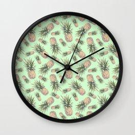 Pastel pineapples pattern Wall Clock