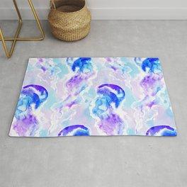 Watercolor jellyfish pattern Rug