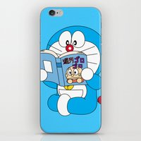 doraemon iPhone & iPod Skins featuring Doraemon Reading Comic Book by Timeless-Id