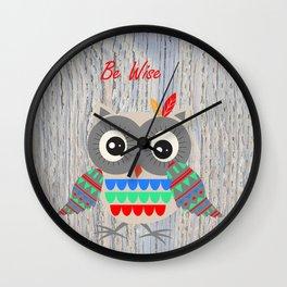 Little Tribal Owl Wall Clock