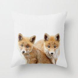 Twin baby fox art, twin kid fox Animal art, fox nursery art, woodland animals Throw Pillow