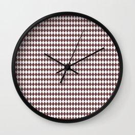 Pantone Red Pear Rippled Diamonds, Harlequin, Classic Rhombus Pattern Wall Clock