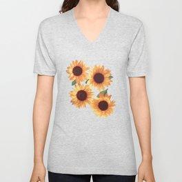 Happy Orange Sunflowers Unisex V-Neck