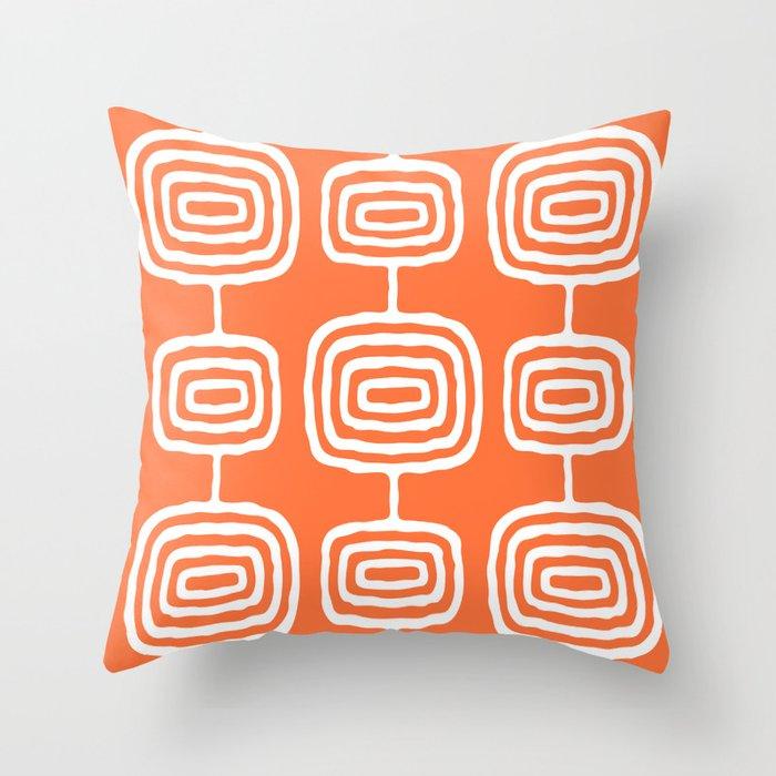Mid Century Modern Atomic Rings Pattern 771 Orange Throw Pillow