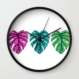 Colorful Monstera leaf Watercolor Wall Clock