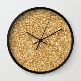 Trendy Gold Glitter Texture Print Wall Clock