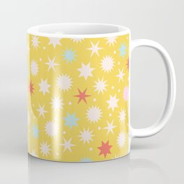 Vintage Christmas Wrapping Paper Pattern Design Mustard Stars & Dots Coffee Mug