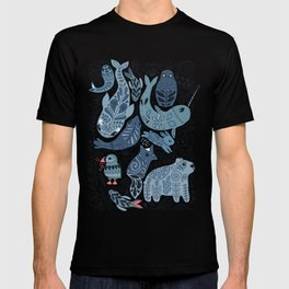 Arctic animals. Polar bear, narwhal, seal, fox, puffin, whale T-shirt