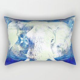 Blue marble water White Elephant Digital art Rectangular Pillow