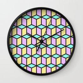 Pastel Cubes Wall Clock