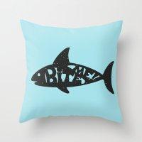 shark Throw Pillows featuring SHARK! by Dylan Morang